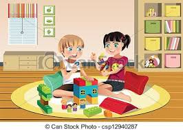 Kids Playing Toys A Vector Illustration Of Happy