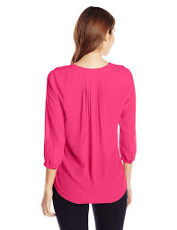 nydj women u0027s solid 3 4 sleeve henley pleat back blouse at amazon
