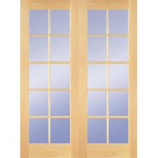 Masonite Patio Doors Home Depot by Builder U0027s Choice 48 In X 80 In 10 Lite Clear Wood Pine Prehung