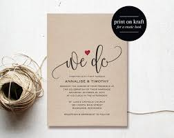 We Do Wedding Invitation Template Rustic Kraft Heart Red Printable PDF Instant Download