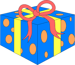 Illustration of a blue wrapped present Free Stock