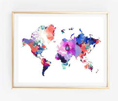 Map Art Floral World Painting Print Tumblr