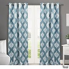 Moroccan Lattice Curtain Panels by Amazon Com 2 Piece 84 Inch Peacoat Blue White Medallion Curtains