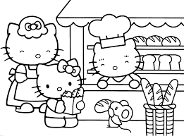 This Is A Coloring Sheet With Hello Kitty That Can Be Printed Description From