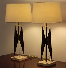 Gerald Thurston Table Lamps by Pair Of Gerald Thurston Style Brass And Travertine Marble Lamps