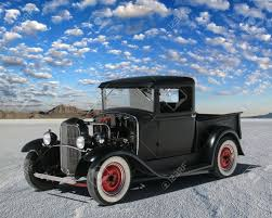 Early 1930s Hot Rod Truck Parked On The Salt. Truck Has Red.. Stock ...