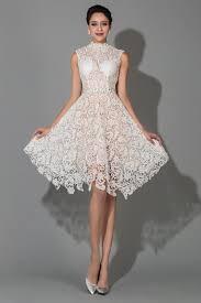 knee length white modest high collar lace wedding dresses