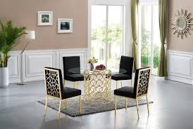 Opal Dining Room Set (Black/ Gold) By Meridian Furniture   FurniturePick Vig Fniture Modrest Kingsley Modern Black Rose Gold Ding Chair Of America Duarte Iii Crocodile Textured Zuo Elio Set 2 Antique Sets Glass Tops Bases Chairs Frame Pedestal Vintage European And Round Table Beautiful Leopard Print 6 Room Wooden Best Of 25 With Legs Ideas Design 100 Transformed Reality Daydream Meridian Karina The Classy Home Inspirational 50 And Dcor Inspiration For New Years Eve Nage Designs Patings On Blue Wall Gold Clock In Modern Ding Room
