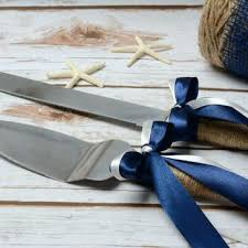 Rustic Cake Cutting Set Best Burlap Wedding Products On Nautical Knife Navy Blue Serving Decoration