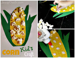 Kids Corn Craft Using Popcorn