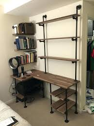 Shelving Desk Industrial Pipe And Walnut L Shaped With Shelves Pallet Pipes