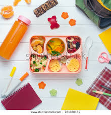Open Lunch Box With Healthy Kids Vegetable Soup Couscous Salad And Funny Sandwiches