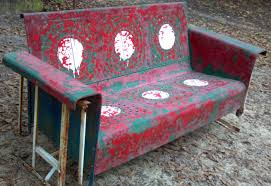 Furniture: Vintage Aluminum Porch Glider With Cushions For ...