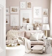 beruhigende wohnzimmer bilderwand line poster weiße holzrahmen