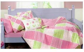pink and green bedding