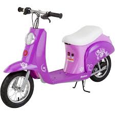 Purple Electric Mini Scooter Battery Powered Ride On Toy Kids Two Wheel Razor