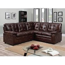 buchannan faux leather corner sectional sofa chestnut walmart com