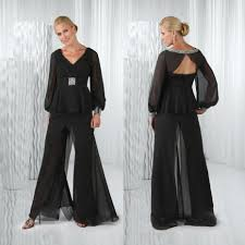 black chiffon mother of the bride pant suits long sleeves v neck