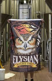 Elysian Night Owl Pumpkin Ale by Signage Elysian Brewing Retail Store