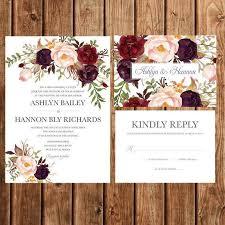 Bohemian Wedding Invitation Fall Invite By BettyLuDesigns