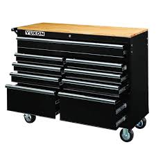 46 In 9 Drawer Mobile Workbench With Solid Wood Top Tools