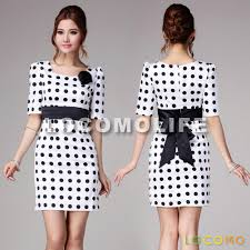 retro black white polka dot ruched shoulder office dress s