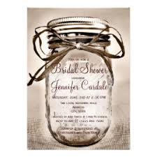Country Mason Jar Rustic Bridal Shower Invitations Custom Announcement