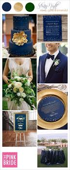 Starry Night Wedding Color Board With Navy Gold And Emerald Inspiration