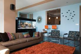 aquarium ideas living room modern with brown leather sectional