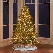 Slim Pre Lit Christmas Trees by The World U0027s Best Prelit Noble Fir 7 5 U0027 Slim Led Hammacher