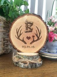 Rustic Wedding Cake Topper Antlers Wood Custom Hunting Personalized Barn