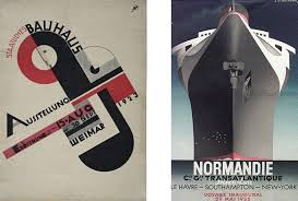 Art Deco Poster Left Joost Schmidt For The 1923 Bauhaus Exhibition In Weimar Right A M Cassandre Normandie 1935