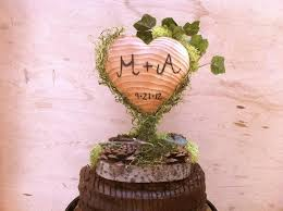 Wooden Heart Wedding Cake Topper Green Moss Rustic Decor Toppers