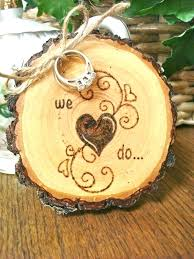 Wooden Wedding Decor Rustic Ring Holder With Wood Burnt South Africa