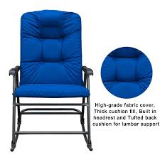 SunLife Outdoor Foldable Modern Rocking Chair Set, Patio/Backyard/Camping  Lounge Rockers With Blue Padded Cushions, Set Of 2
