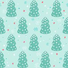 Seamless Christmas Pattern With Trees Stars And Snowflakes Stock Vector