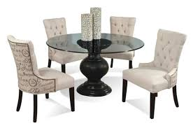 Splendid Round Pedestal Glass Top Dining Table Elegant Room Decor Style