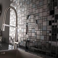 cuisine mosaique tile mosaic stainless steel splashback black plate kitchen cm oken