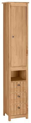 home affaire hochschrank westa breite 34 cm badezimmerschrank aus massivholz kiefernholz metallgriffe 1 tür und 3 schubkästen