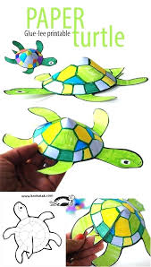 Kids Printable Crafts Glue Less Turtle Paper For Handmade Ideas