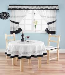 Attractive Black And White Modern Kitchen Window Curtain Valances Ideas With Matching Dining Table Cloth Chairs Cushion