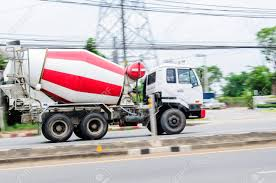 Motion, Small Cement Trucks On The Road. Stock Photo, Picture And ...
