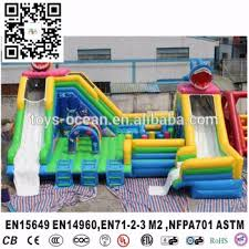 Ocean Shark Inflatable Pool Water Slides For Inground Swimming Pools