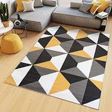 tapiso teppich kurzflor grau weiß gelb modern