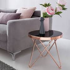 finebuy beistelltisch fb45663 design couchtisch mini ø 42 cm rund glas kupfer lounge beistelltisch verspiegelt moderner wohnzimmertisch