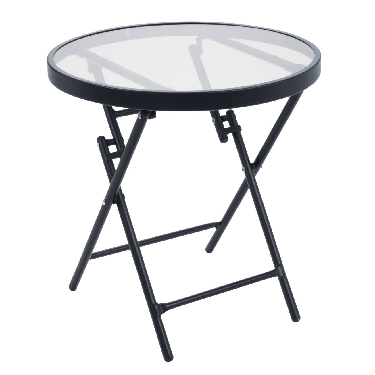"Living Accents Steel Side Table - Black, 18.11""x17.72"""
