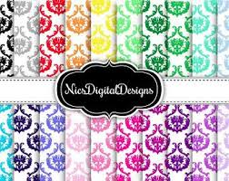 20 Digital Paper Damask 8 In Rainbow Colour 2 7B No 16 For Personal Use And Small Commercial Scrapbooking