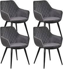 woltu esszimmerstühle bh153dgr 4 4er set küchenstühle wohnzimmerstuhl polsterstuhl design stuhl mit armlehne dunkelgrau gestell aus stahl samt