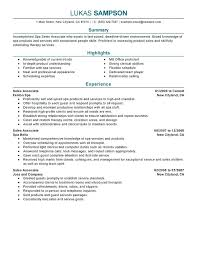 Sample Resume For Clothing Retail Sales Associate Agent Outside Representative