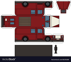 Paper Model Of A Classic Fire Truck Royalty Free Vector